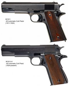 M1911 to M1911A1 comparison.The 1911 pistol is considered by many gun collectors and veterans to be the greatest self-loading pistol ever made and the grandfather of the modern handgun, which despite its age is still used alongside modern pistols today. Designed by John Moses Browning in 1910 with patent dates going as far back as 1897, the .45 caliber pistol was adopted into the U.S. military arsenal February 14, 1911.