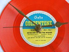 WIzard of OZ Vinyl Record CLOCK made from by clockstockandbarrel, £15.99