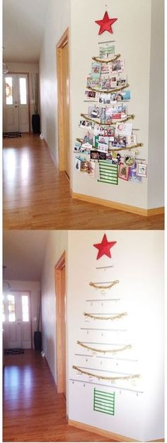21 Free (or Cheap) Family Christmas Traditions & Create a washi-tape tree to hang holiday cards. The post 21 Free (or Cheap) Family Christmas Traditions appeared first on Dekoration. Winter Christmas, All Things Christmas, Christmas Home, Christmas Ornaments, Apartment Christmas, Christmas Card Display, Christmas Movies, Christmas Tree Skirts, Christmas Tree Card Holder