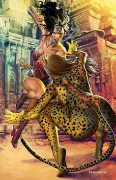 Wonder Woman vs Cheetah by Raymund Lee Wonder Woman Art, Wonder Woman Vs Cheetah, Wonder Woman Kunst, Wonder Woman Comic, Wonder Women, Marvel Dc Comics, Comics Anime, Dc Comics Art, Comics Girls