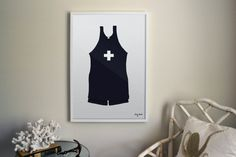 Vintage Bathing Suit Illustrated Print in dark Navy Blue with Swiss Cross. Perfect for a Nautical, Lake, Ocean, Home Decor, Art