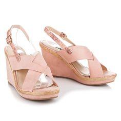 Ružové sandále na plnom podpätku 2072-20P