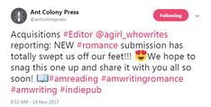 I received about 18 rejections after DEEP FLAMING RED went on submission. Ant Colony Press, who eventually accepted DFR in Jan 2018, tweeted THIS about the manuscript while it was still on submission with them!! Ant Colony, Jan 2018, Submission, Ants, Deep, Ant
