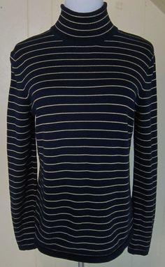 Lauren Ralph Lauren Women's Size M Navy Blue & Gold Stripe Turtleneck Sweater #LaurenRalphLauren #TurtleneckMock