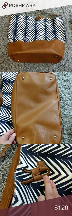 Pottery Barn LEATHER diaper bag Overall excellent condition. See photos. Some minor wear on 3 corners, hardly visible. A few tiny loose strings. Such a great bag, chic and practical! Includes matching changing pad. Smoke and pet free home! See my other listings! A pottery Barn kids Accessories Bags