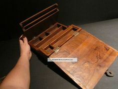 Repro 19th C Antique Vintage Folding Document Writing Wood Lap Desk Box Scribe Primitives photo