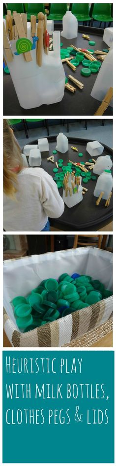 heuristic play with milk bottles, lids and clothes pegs #heuristic play
