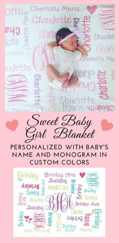 This would make a great baby shower gift! Adorable baby girl blanket with her name and monogram in custom colors to match any style! Single Parenting, Kids And Parenting, Parenting Hacks, Baby Decor, Baby Shower Decorations, Nursery Decor, Baby Hacks, Baby Tips, Baby Ideas
