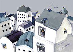 """"""" 我站在你站过的地方"""" (2009) by 刘葱葱 / ( translated : """"i am at the same spot after you"""" ) / 我站在你站过的地方,特别的想知道别人家那些黑洞洞的窗口里有些什么。I am visiting the place you visited, eagerly knowing the stories behind the little window pane in the city. / I bought a postcard from Cat Socrate@Bras Basah. The postcard is an illustration by 八路 /EddieLee (李建智)."""