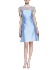 Cap-Sleeve Beaded Lace-Yoke Cocktail Dress, Periwinkle by Kay Unger New York at Neiman Marcus.