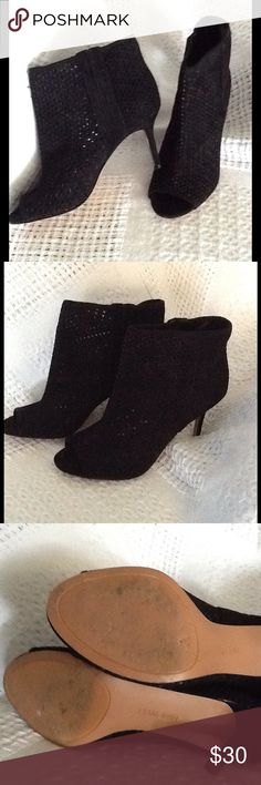 Black Suede Booties These are by Nine West and have the style name of  are  a suede bootie with a laser cut upper and a peep toe. The heel is covered and is 3.25 inches. There is a zipper on the side. These were worn in a recent department store fashion show. I have pictured the wear on the bottom. A great value for like new shoes! Nine West Shoes Ankle Boots & Booties