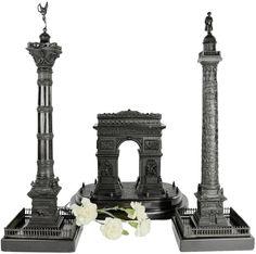 Set of Three French Monuments - Arc De Triomphe, Vendome & July Columns Display Pedestal, Triomphe, Home Libraries, Exhibition Display, Vintage Models, Grand Tour, Model Building, Paris, Architectural Models