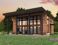 House With Porch, House Roof, Facade House, Bamboo House Design, Modern House Design, Contemporary Home Exteriors, Shed Roof Design, Facade Design, Door Design