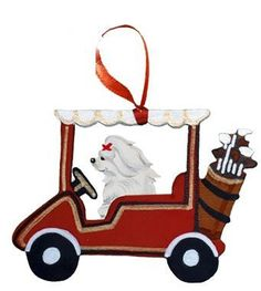 """Dogs on The Move"" Golf Cart Dog Wood 3-D Hand Painted Ornament - Maltese"