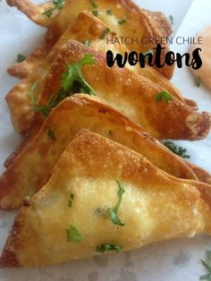 These Hatch Green Chile and Cheese Wontons are the perfect party appetizer finger food for those who like it hot! Add this to your recipes board!
