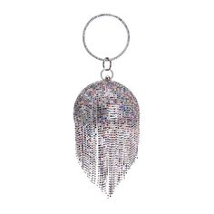 Fringed Handbags Evening Bag Diamond Evening Bag Hand European and American Banquet Black Blue Red Silver Variegated Gray Package (Color : Multi-Colored), Wedding Clutch, Wedding Bag, Party Wedding, Fringe Handbags, Beaded Clutch, Ladies Party, Black Cross Body Bag, Crystal Ball, Clutch Purse