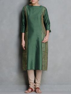 Buy Green Kanta Embroidered & Sequin Detailed Cotton Silk Kurta by Firroza Apparel Tunics Kurtas Between the Lines Kantha Hand Tops Online at Jaypore.com