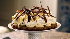With its fantastic combination of banana and toffee, banoffee pie is hard to beat. This one has a chocolate biscuit base and is made on the hob rather than boiling the condensed milk in the can for hours.