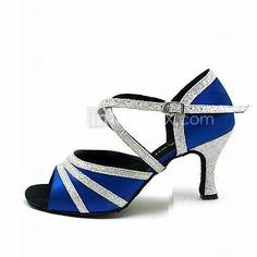 Royal blue satin and silver sparkle Latin dance shoes