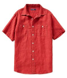 NEW Cremieux Laundered Linen Short Sleeve Shirt BIG & TALL  - Size L T RED…