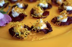 "Crispy Fried Beet Chips, Goat Cheese Mousse, Crispy Beet ""Hay"""