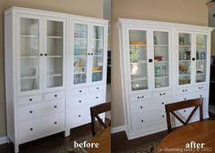 """IKEA hack: two Hemnes glass door with drawers cabinets--""""we removed the base molding on our wall, attached the two cabinets with carriage bolts to make one cabinet, added a new backing, crown to the top, and wrapped the whole thing with new base moldings to give it a custom built-in look. """" GORGEOUS!! {A Charming Nest}"""