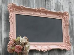 Chalkboard in a painted frame! <-- a must do for my new living