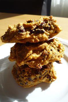 Huisgemaakte Pompoen, choclate chip, walnoot, rozijn koeken. Gezoet met (niet erg veel) honing.