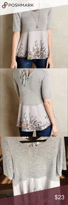 Anthropologie moth gardenia top Anthropologie moth gardenia top, cute tie at neck. Beautiful floral design at bottom, heather gray sweater type material at bodice. EUC no smoke no stains or holes. Anthropologie Tops