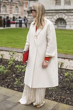 Camille Charriere wearing the #JosephSS16 silk stripe pants during #LFW - @camtyox. Shop the new Spring Summer collection now at www.joseph-fashion.com