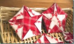 Country stars - Take two fabrics in contrasting colors. Put them right sides together and draw a pentagon on lighter fabric. draw a smaller pentagon on the top of your fabric fold the corners along the lines and stitch them.