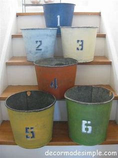 Painted Old Galvanized Buckets eclectic baskets Galvanized Wash Tub, Galvanized Buckets, Metal Buckets, Eclectic Baskets, Tub Paint, Metal Chicken, Copper Paint, Porch Flooring, Wash Tubs