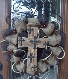 Texas Western Burlap Mesh Wreath...this cross is found at Hobby Lobby...light weight