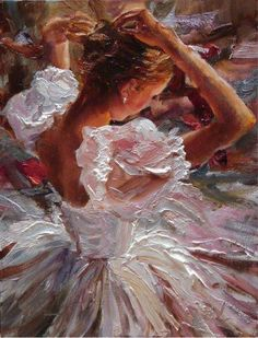 Lovely textured painting of a ballet dancer.