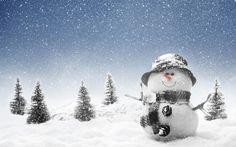 cool winter snowman wallpaper