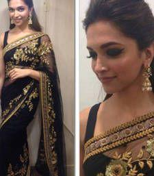 Buy Black embroidered georgette saree with blouse deepika-padukone-saree online