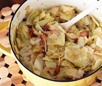 Boiled Cabbage With Bacon. This is Chris's favorite food. He wants leftovers of this in the fridge at all times.