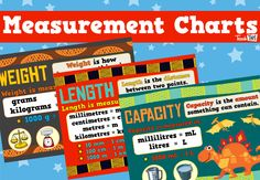 This set of 'Measurement Charts' provides equivalent measurements in weight, length and capacity. Classroom Games, Classroom Displays, Units Of Measurement, Math Activities, Teacher Resources, Mathematics, Charts, Teaching, Maths