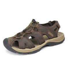 US Size 6.5-10.5 Mens Summer Beach Sandals Magic Stick Adjustment Leather Shoes - US$36.23