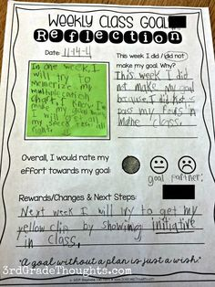 3rd Grade Thoughts: Reflecting on Our Weekly SMART Goals