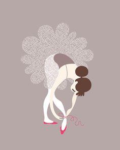 ballerina tying slippers by Jeanie Nelson