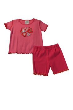 """Mis Tee V-Us Pink Hearts 2-Piece Outfit includes pink top with screen print hearts on the front and basic pull-on shorts. Quote on front of top says """"Hearts in Bloom""""  Made in USA"""