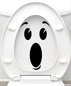 Surprised Face Vinyl Decal Set maybe they'll be better about putting the seat down? Bathroom Decals, Bathroom Humor, Sticker Toilette, Stickers Wc, Wall Stickers Cool, Vinyl Decals, Wall Decals, Wc Decoration, Ambiance Sticker