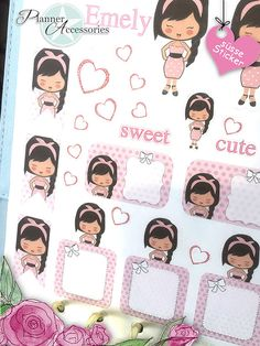 Girl Stickers Cute Stickers Planner Stickers by EmelysPlannerShop