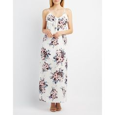 Charlotte Russe Floral Ruffle-Trim Maxi Dress ($25) ❤ liked on Polyvore featuring dresses, white combo, floral dresses, floral maxi dress, white floral dress, v neck maxi dress and white sleeveless dress