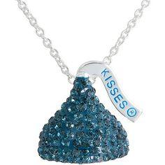 "Hershey's Kiss Silver Tone Blue Crystal Pendant, 18"""