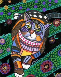 11x14 Tabby Cat Folk Art Modern Print Poster Painting Contemporary