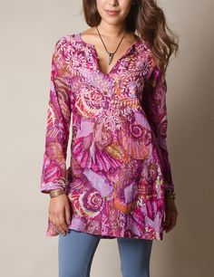 Yasmin Stitched Tunic love these colors and the ease nice for hanging around