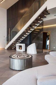Penthouse One-11   City Life - Milano   Zaha Hadid Floor Design, House Design, Minimal Kitchen, Apartment Interior Design, Contemporary Interior Design, Pent House, City Life, Zaha Hadid, Layout Design