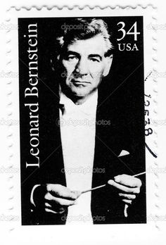 Stamp with famous composer Leonard Bernstein. The first American-born superstar…